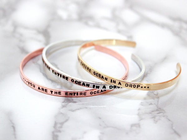 You are the Entire Ocean in a Drop | Stamped Skinny Cuff-Cuff-Drishti Handmade