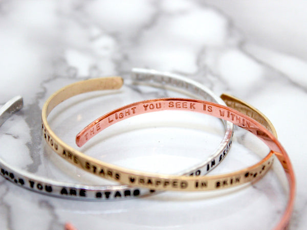 You are Stars Wrapped in Skin | Stamped Skinny Cuff-Cuff-Drishti Handmade
