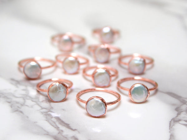 Pearl Ring | June Birthstone | Electroformed Pearl and Copper Ring