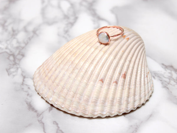 Pearl Ring | June Birthstone | Electroformed Pearl and Copper Ring-Ring-Drishti Handmade