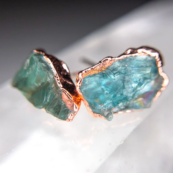 Apatite Earrings | Electroformed Raw Stone and Copper-Earring-Drishti Handmade