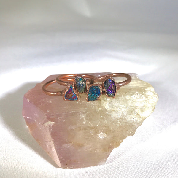 Peacock Ore Ring | Electroformed Chalcopyrite and Copper Ring