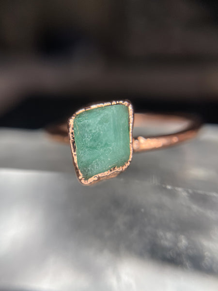 Emerald Ring | May Birthstone | Electroformed Emerald Stone and Copper Ring-Ring-Drishti Handmade
