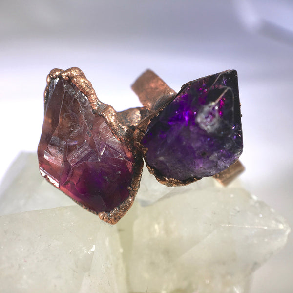 Statement Amethyst Ring | February Birthstone | Electroformed Amethyst Stone and Copper Ring-Ring-Drishti Handmade