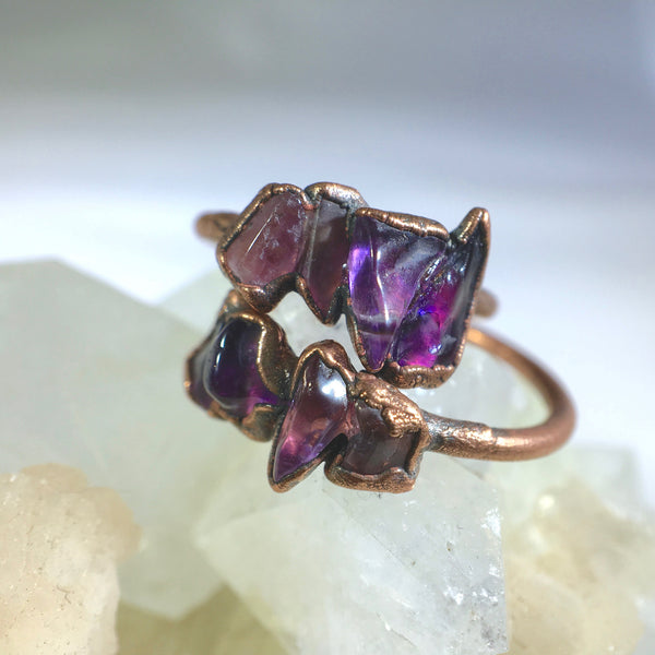 Multistone Amethyst Ring | February Birthstone | Electroformed Amethyst Stone and Copper Ring