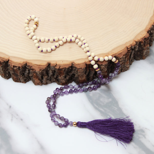 Amethyst Mala | 108 Mala Bead | Prayer Bead Necklace-Mala-Drishti Handmade
