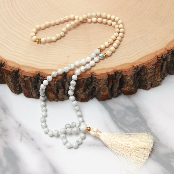 Howlite aka White Turquoise Mala | 108 Mala Bead | Prayer Bead Necklace