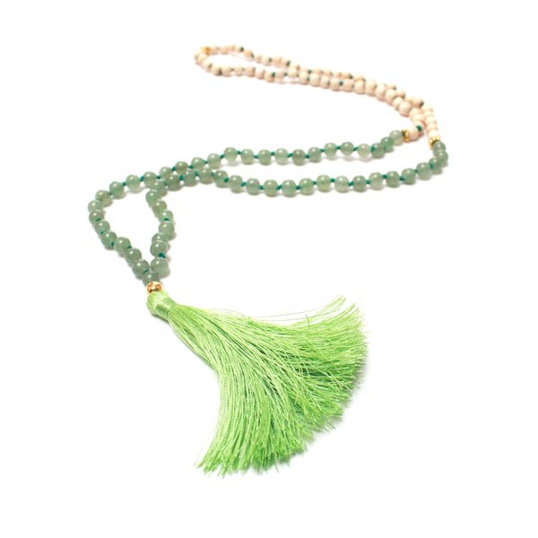 Green Aventurine Mala | 108 Mala Bead | Prayer Bead Necklace-Mala-Drishti Handmade