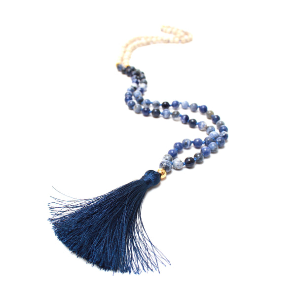 Sodalite Mala | 108 Mala Bead | Prayer Bead Necklace-Mala-Drishti Handmade