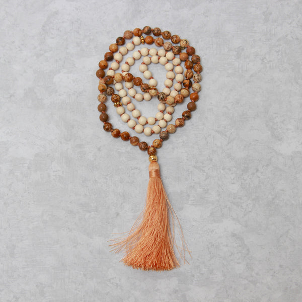 Picture Jasper Mala | 108 Mala Bead | Prayer Bead Necklace-Mala-Drishti Handmade