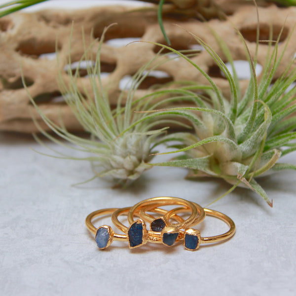Sapphire and Gold Ring | September Birthstone-Ring-Drishti Handmade