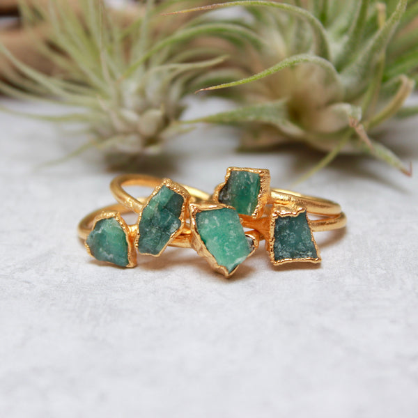 Emerald and Gold Ring | May Birthstone-Ring-Drishti Handmade