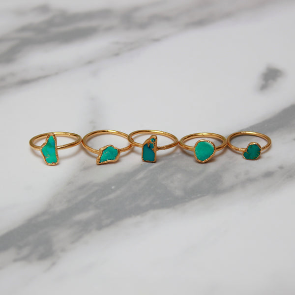 Turquoise and Gold Ring | December Birthstone-Ring-Drishti Handmade
