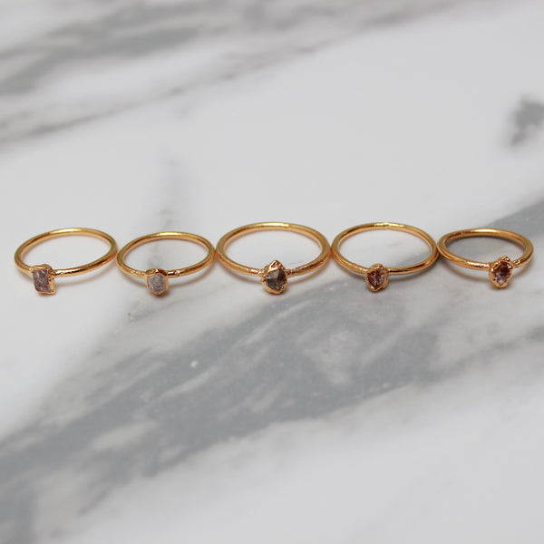Herkimer Diamond and Gold Ring | April Birthstone