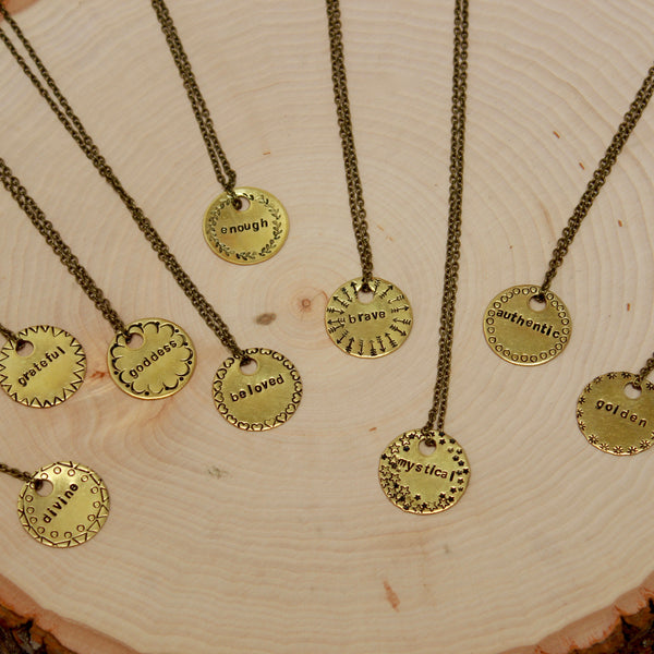 Brass Necklace | Stamped Pendant | Circle Necklace-Necklace-Drishti Handmade