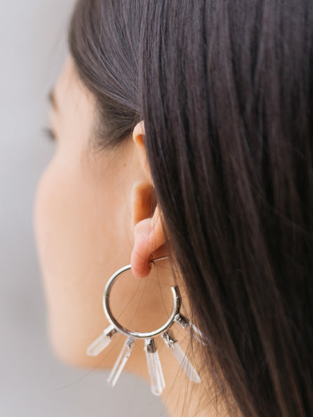 Quartz Point Earrings | Gold Hoop-Earring-Drishti Handmade
