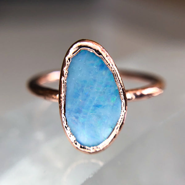Blue Boulder Opal Ring | October Birthstone | Raw Stone Ring