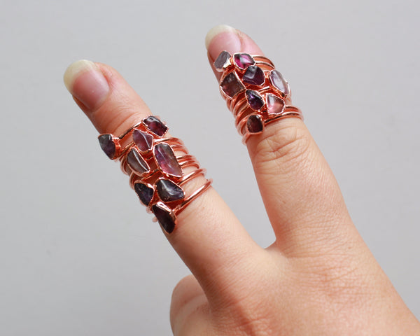 Amethyst Ring | February Birthstone | Electroformed Amethyst Stone and Copper Ring