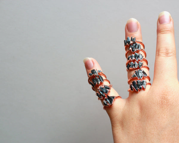 Snowflake Obsidian Ring | Electroformed Raw Stone and Copper
