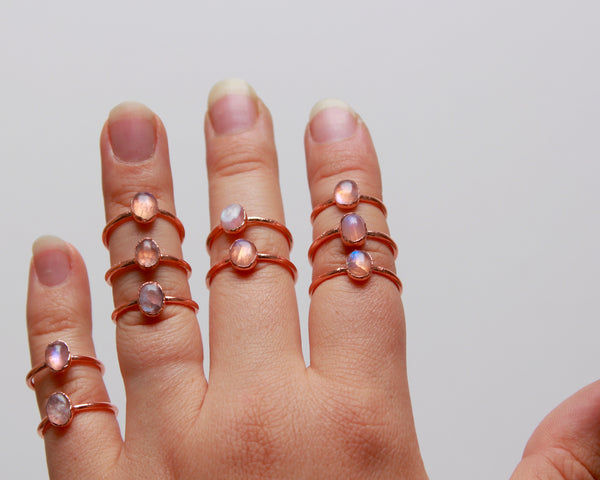 Moonstone Ring | June Birthstone | Electroformed Raw Stone and Copper