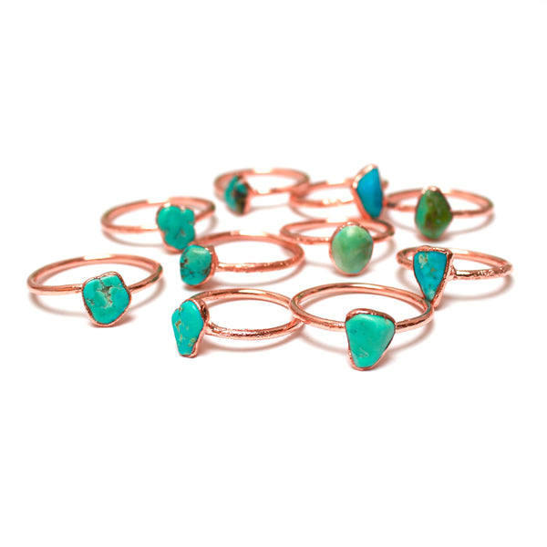 Turquoise Ring | December Birthstone | Electroformed Raw Stone and Copper-Ring-Drishti Handmade