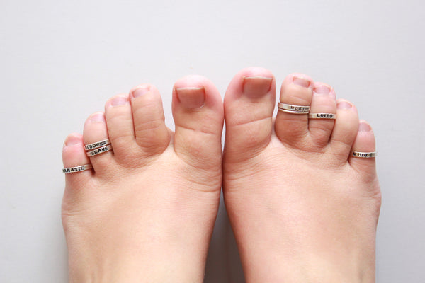 Sterling Silver Toe Ring | Custom Stamped Body Jewelry-Extras-Drishti Handmade