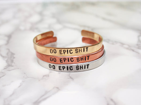Do Epic Shit | Stamped Metal Cuff-Cuff-Drishti Handmade