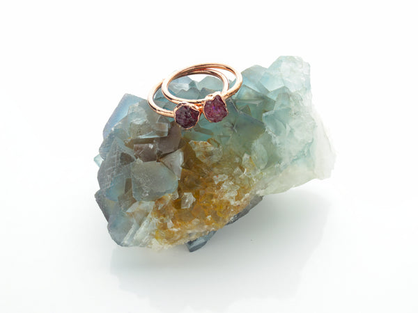 Ruby Ring | July Birthstone | Electroformed Raw Ruby and Copper-Ring-Drishti Handmade