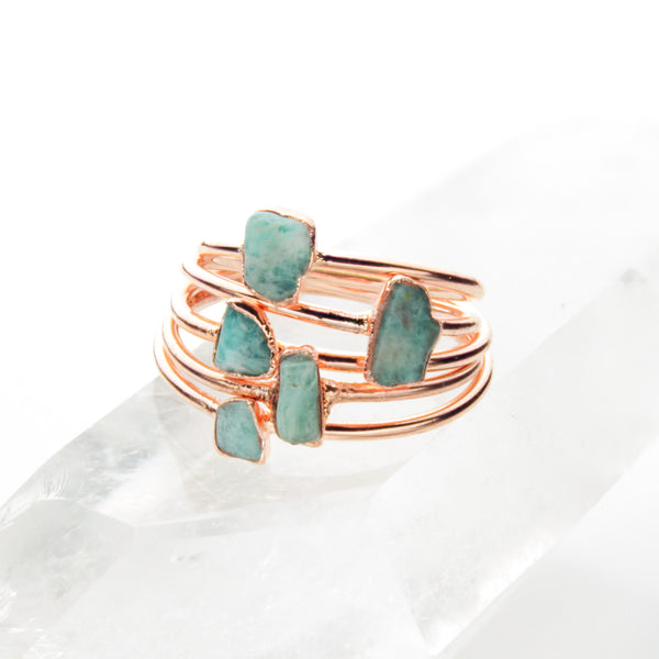 Amazonite Ring | Raw Crystal Stacking Ring-Ring-Drishti Handmade