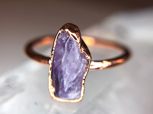 Amethyst Ring | February Birthstone | Electroformed Amethyst Stone and Copper Ring-Ring-Drishti Handmade