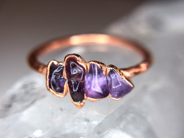 Multistone Amethyst Ring | February Birthstone | Electroformed Amethyst Stone and Copper Ring-Ring-Drishti Handmade