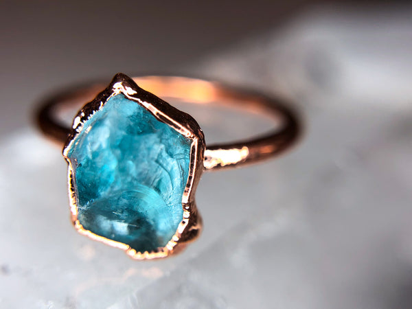 Apatite Ring | Electroformed Raw Stone and Copper-Ring-Drishti Handmade