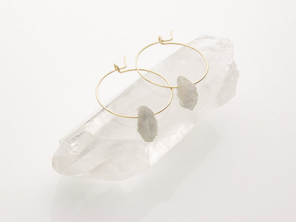 Labradorite Gold Hoop Earrings | Raw Crystal Jewelry-Earring-Drishti Handmade