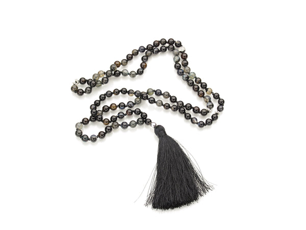 Black Agate Mala | 108 Prayer Beads | Limited Run-Mala-Drishti Handmade