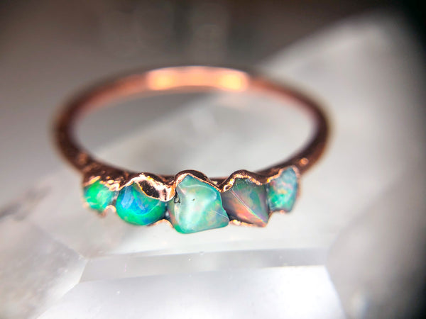 Welo Opal Ring | October Birthstone | Opal and Copper Electroformed Ring-Ring-Drishti Handmade