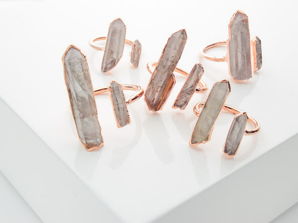 Open Double Quartz Point Ring-Ring-Drishti Handmade