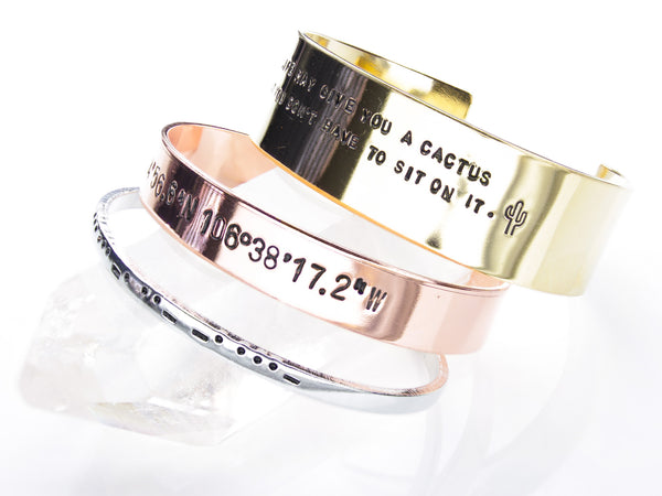 Custom Stamped Cuff | Personalized Bracelet Bangle-Cuff-Drishti Handmade