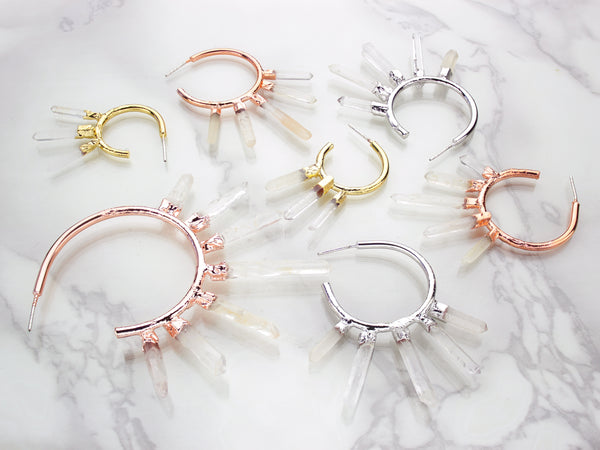 Quartz Point Earrings | Gold Hoop