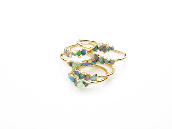 Opal and Gold Ring | October Birthstone-Ring-Drishti Handmade
