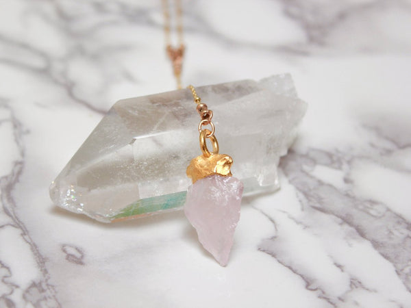 Gold Arrowhead Necklace | Rose Quartz Lariat Pendant-Necklace-Drishti Handmade