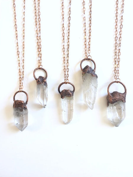 Quartz Point Necklace | Raw Crystal Pendant | Electroformed Pendant-Necklace-Drishti Handmade