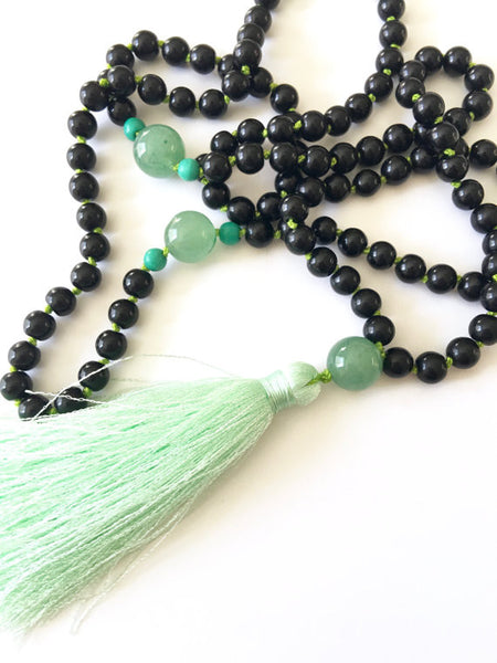 Obsidian and Green Aventurine Mala | Prayer Bead Necklace