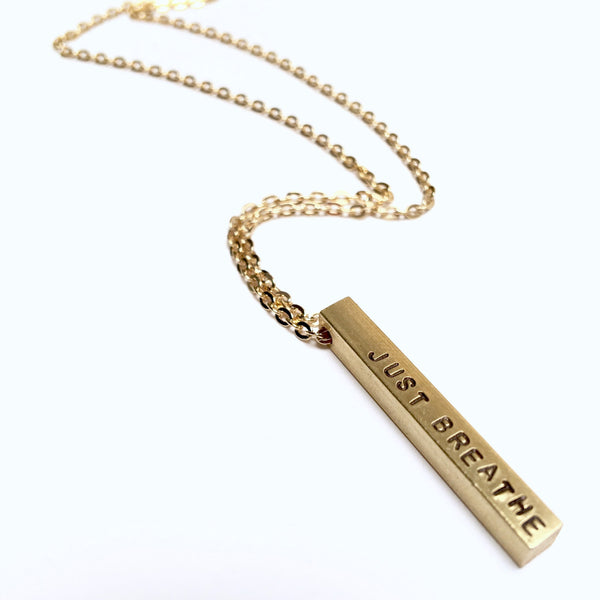Custom Brass Necklace | Stamped Pendant | Bar Necklace