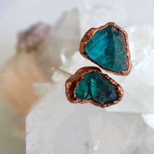 Apatite Earrings | Electroformed Raw Stone and Copper