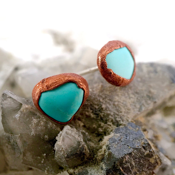 Turquoise Earrings | Raw Stone Earrings | December Birthstone-Earring-Drishti Handmade