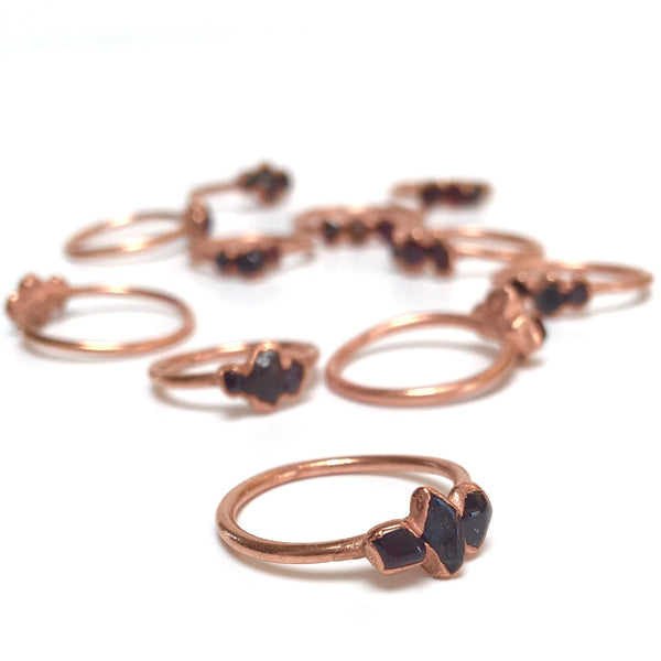 Garnet Ring | January Birthstone | Electroformed Raw Stone and Copper-Ring-Drishti Handmade