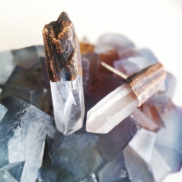 Quartz Point Earrings | Electroformed Raw Stone and Copper