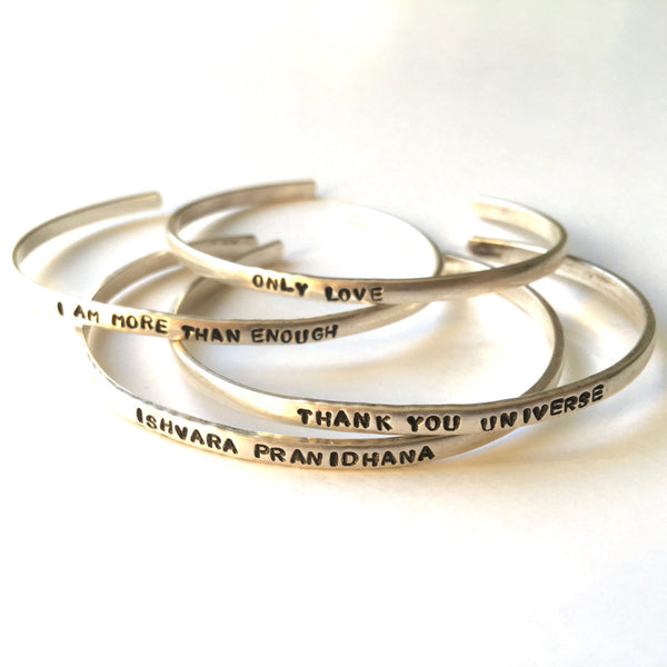 Silver Cuff | Stamped Intentions Mantra Bracelet