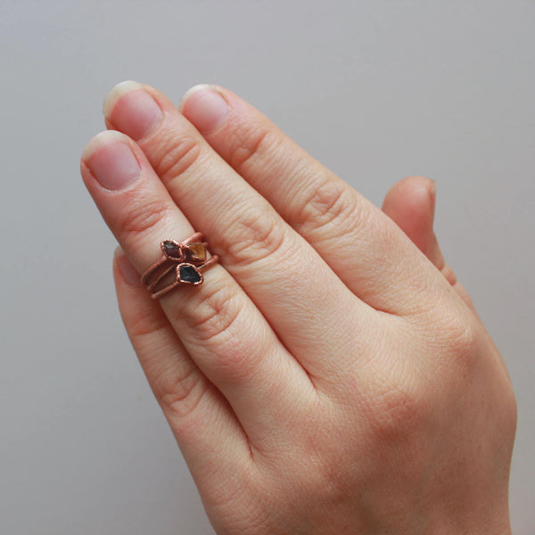 Will Power Trio Stacking Ring Set | Garnet, Tiger's Eye, and Black Tourmaline