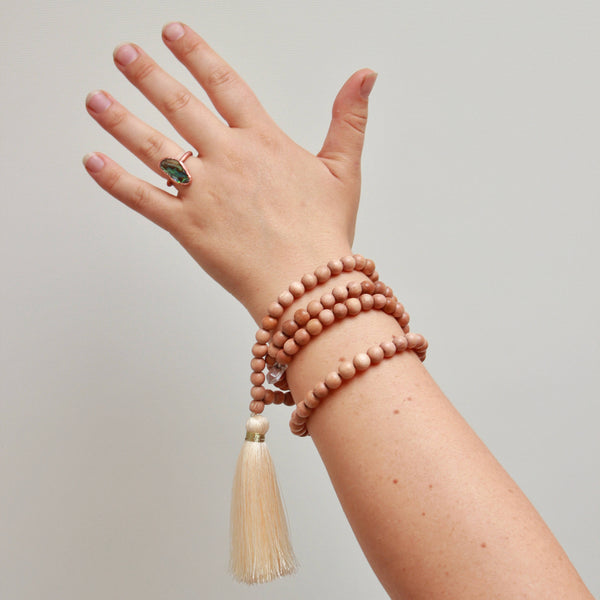 Mala with Crystal Pendant | Wood Prayer Beads